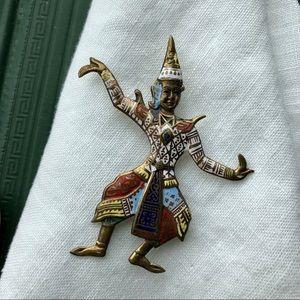 Unique vintage sterling vermeil dancer brooch pin